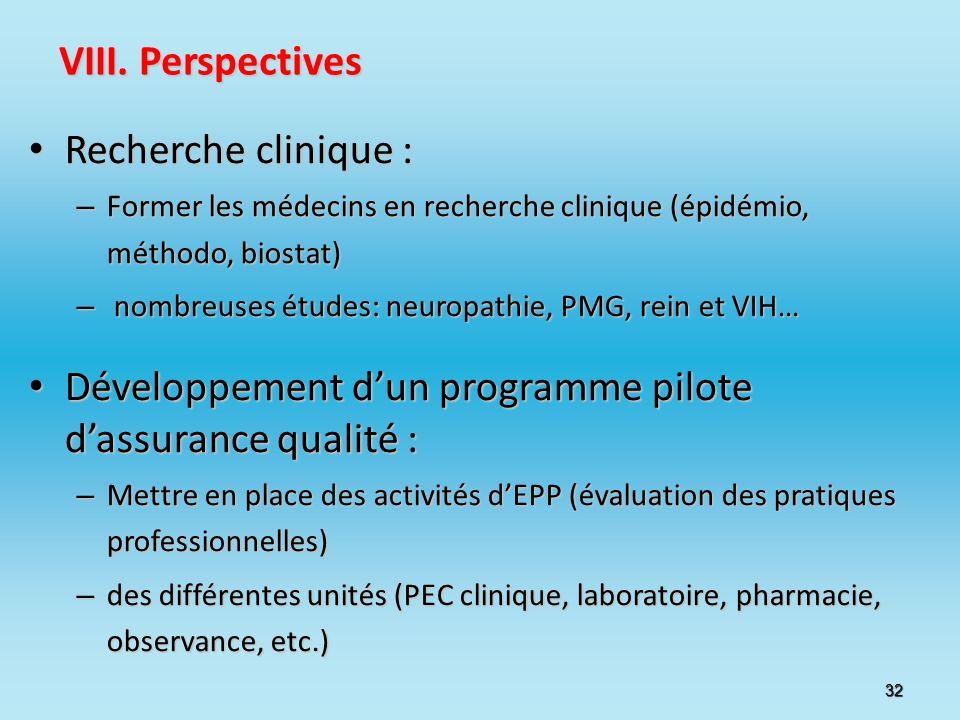 32 VIII. Perspectives Recherche clinique : Recherche clinique : – Former les médecins en recherche clinique (épidémio, méthodo, biostat) – nombreuses