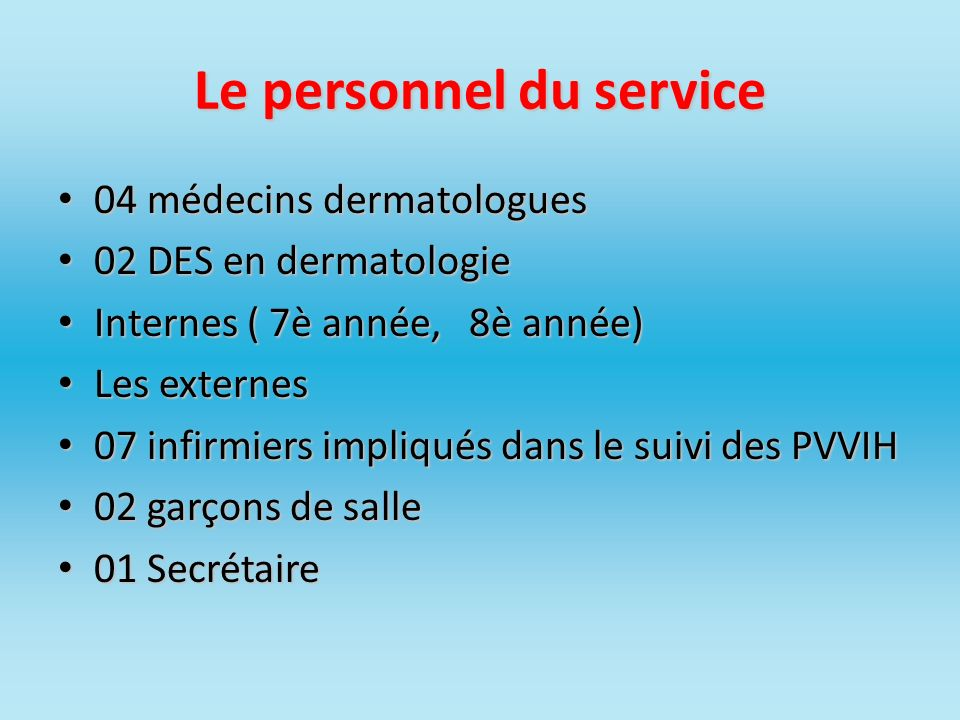 Le personnel du service 04 médecins dermatologues 04 médecins dermatologues 02 DES en dermatologie 02 DES en dermatologie Internes ( 7è année, 8è anné
