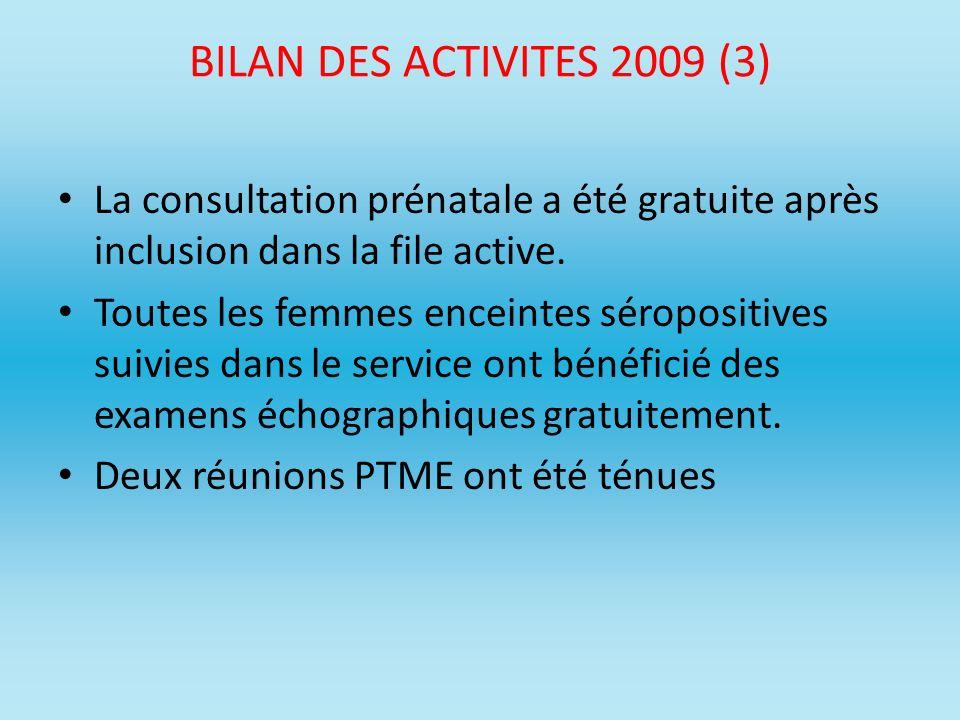 BILAN DES ACTIVITES 2009 (3) La consultation prénatale a été gratuite après inclusion dans la file active. Toutes les femmes enceintes séropositives s