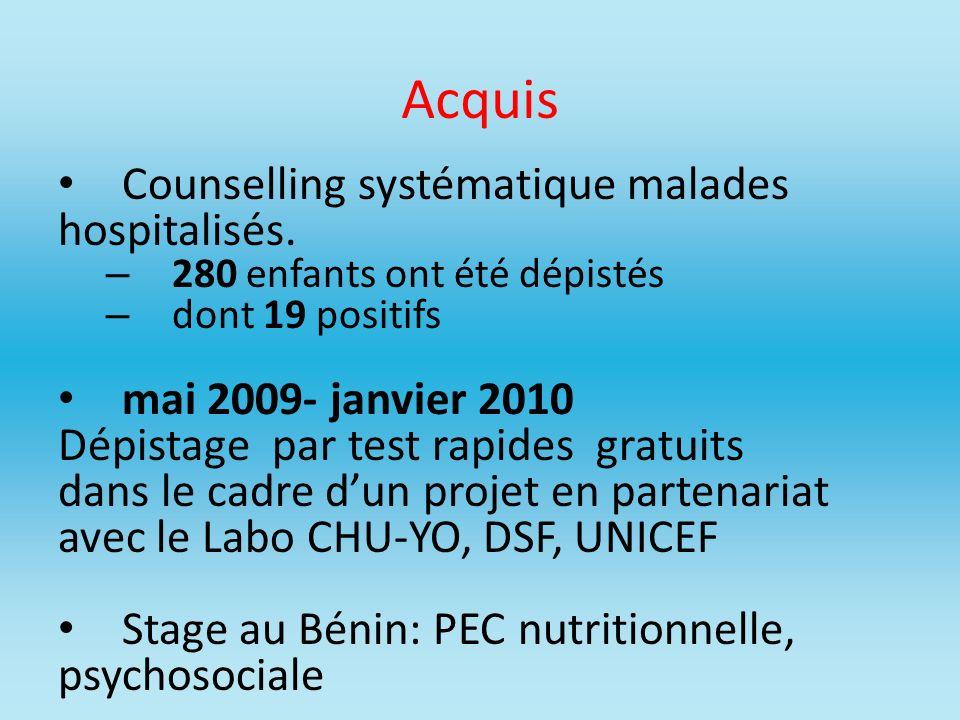 Acquis Counselling systématique malades hospitalisés. – 280 enfants ont été dépistés – dont 19 positifs mai 2009- janvier 2010 Dépistage par test rapi