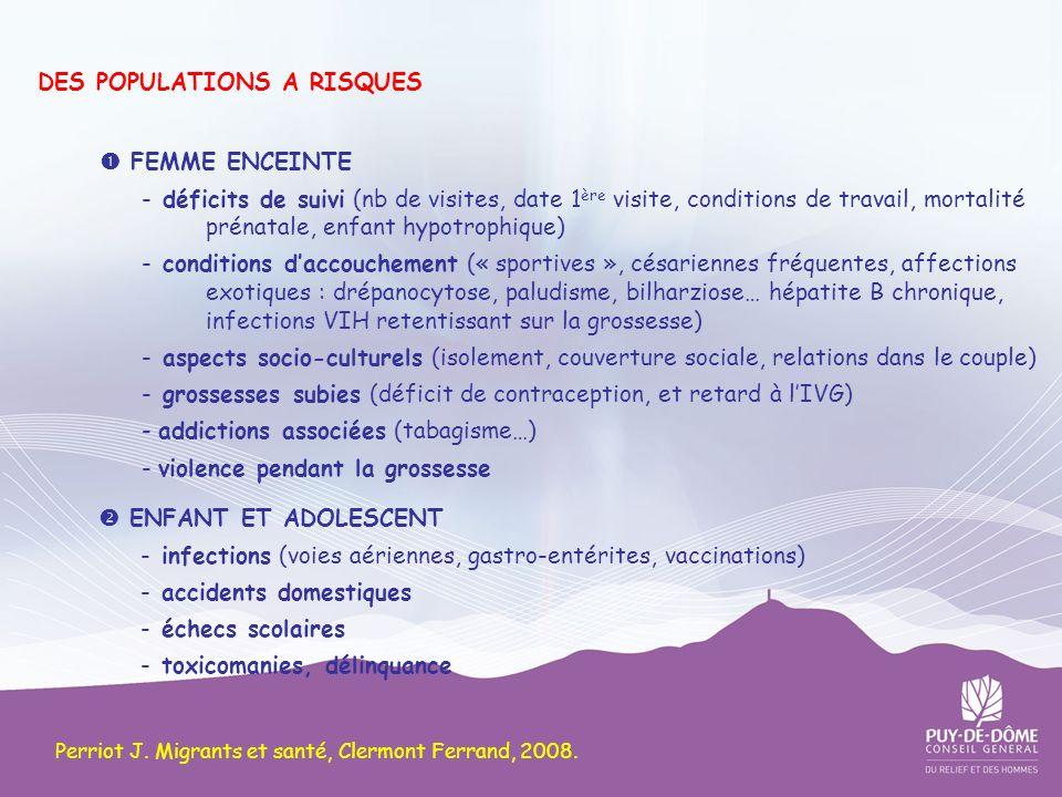 DES POPULATIONS A RISQUES FEMME ENCEINTE - déficits de suivi (nb de visites, date 1 ère visite, conditions de travail, mortalité prénatale, enfant hyp