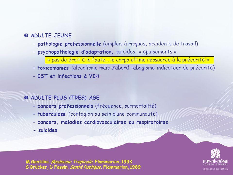 ADULTE JEUNE -pathologie professionnelle (emplois à risques, accidents de travail) -psychopathologie d adaptation, suicides, « épuisements » « pas de