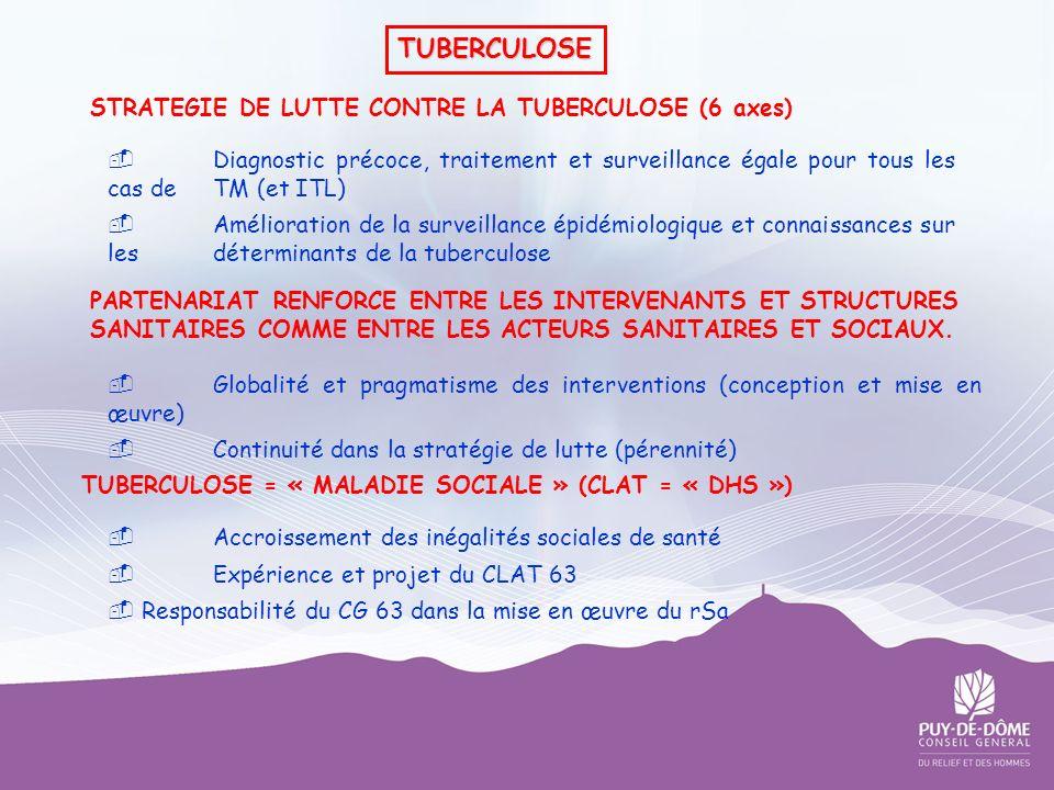 STRATEGIE DE LUTTE CONTRE LA TUBERCULOSE (6 axes) Diagnostic précoce, traitement et surveillance égale pour tous les cas de TM (et ITL) Amélioration d