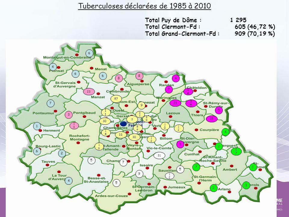 Total Puy de Dôme : 1 295 Total Clermont-Fd : 605 (46,72 %) Total Grand-Clermont-Fd : 909 (70,19 %) Tuberculoses déclarées de 1985 à 2010 6 4 6 6 7 1