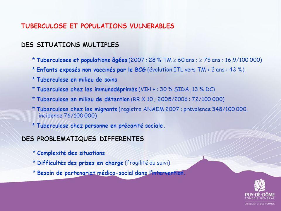 TUBERCULOSE ET POPULATIONS VULNERABLES DES SITUATIONS MULTIPLES * Tuberculoses et populations âgées (2007 : 28 % TM 60 ans ; 75 ans : 16,9/100 000) *