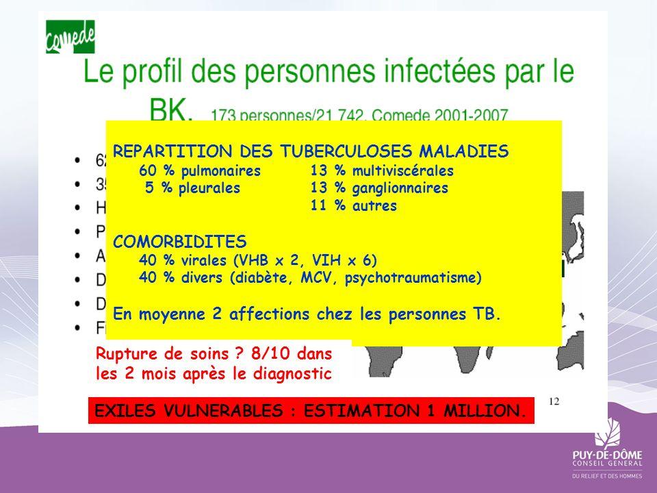 REPARTITION DES TUBERCULOSES MALADIES 60 % pulmonaires13 % multiviscérales 5 % pleurales13 % ganglionnaires 11 % autres COMORBIDITES 40 % virales (VHB