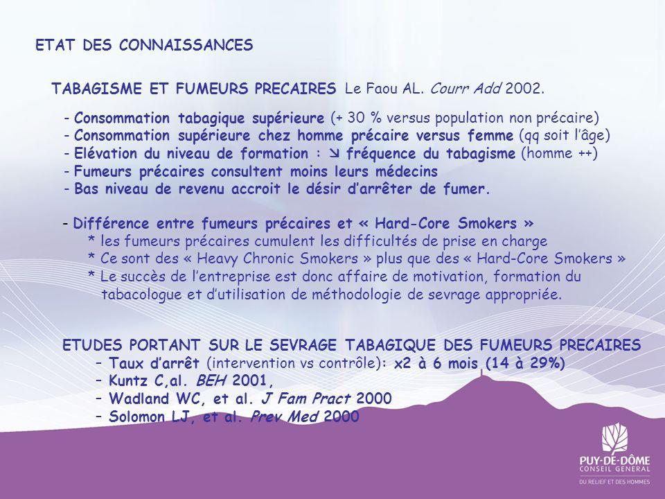 ETAT DES CONNAISSANCES TABAGISME ET FUMEURS PRECAIRES Le Faou AL. Courr Add 2002. - Consommation tabagique supérieure (+ 30 % versus population non pr