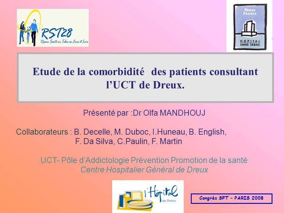 Etude de la comorbidité des patients consultant lUCT de Dreux. Présenté par :Dr Olfa MANDHOUJ Collaborateurs : B. Decelle, M. Duboc, I.Huneau, B. Engl