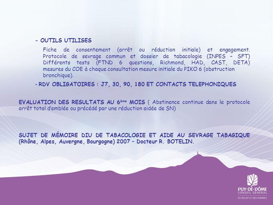 - OUTILS UTILISES Fiche de consentement (arrêt ou réduction initiale) et engagement. Protocole de sevrage commun et dossier de tabacologie (INPES – SF