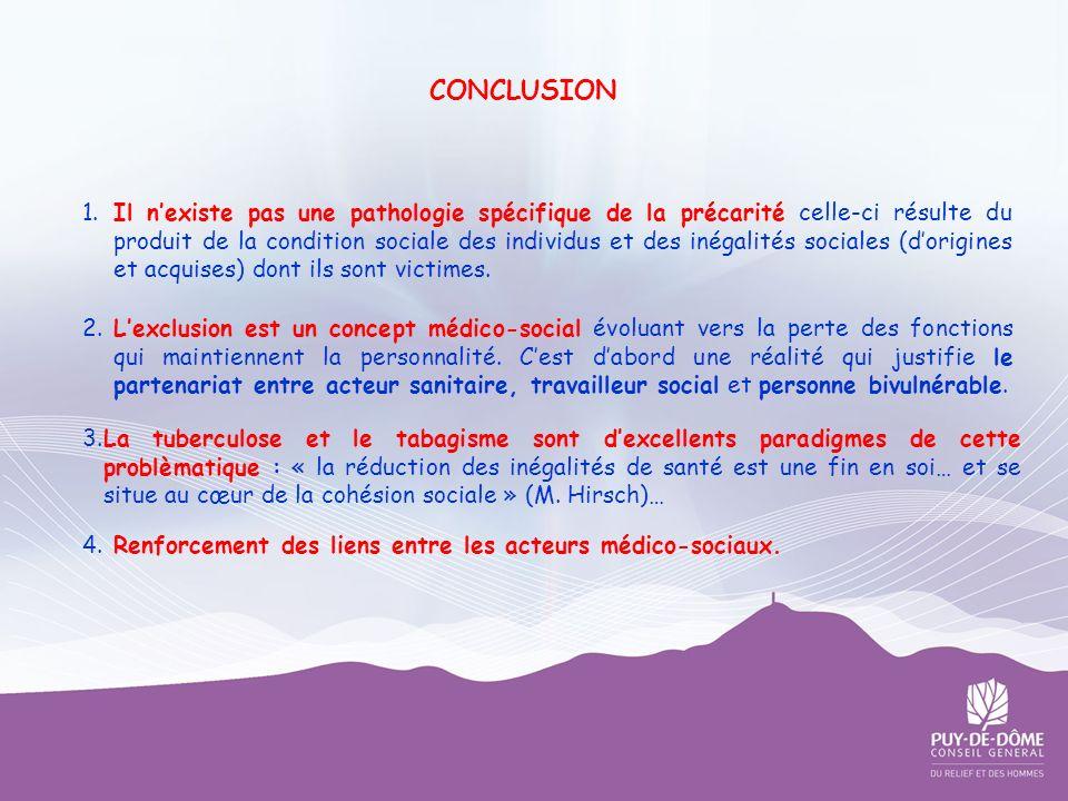 CONCLUSION 1. Il nexiste pas une pathologie spécifique de la précarité celle-ci résulte du produit de la condition sociale des individus et des inégal