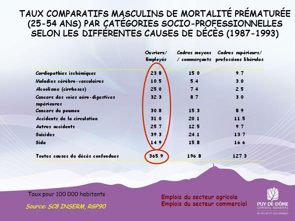 TAUX COMPARATIFS MASCULINS DE MORTALITÉ PRÉMATURÉE (25-54 ANS) PAR CATÉGORIES SOCIO-PROFESSIONNELLES SELON LES DIFFÉRENTES CAUSES DE DÉCÈS (1987-1993)