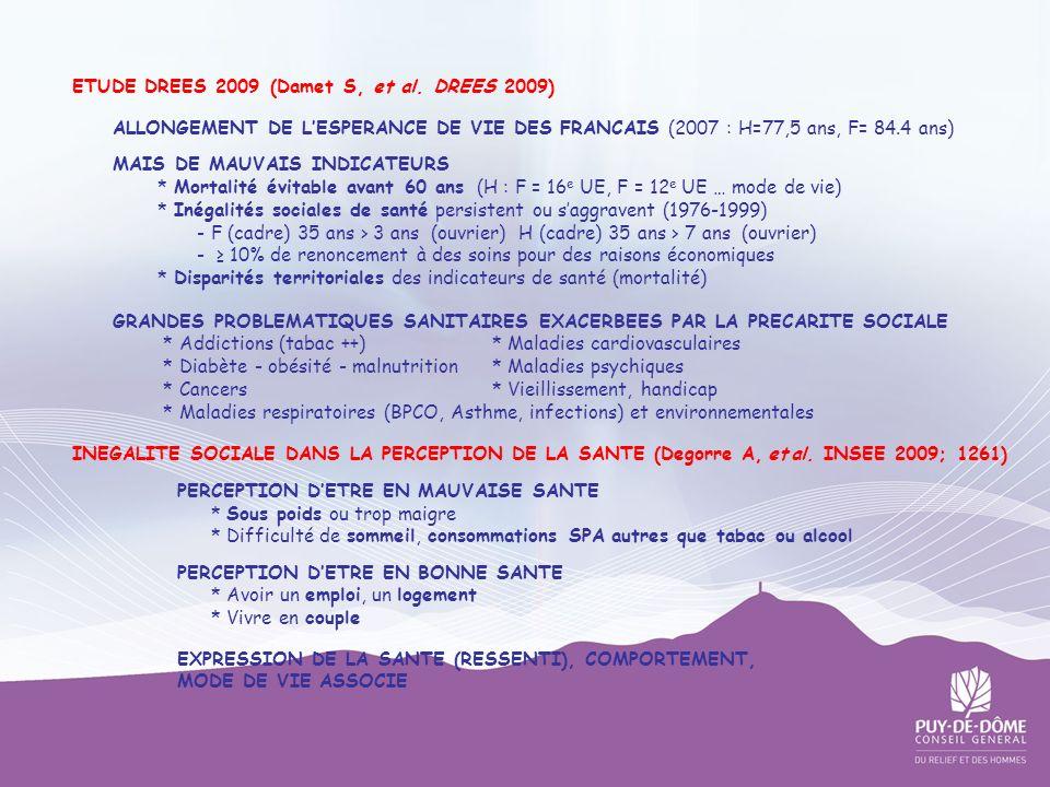 ETUDE DREES 2009 (Damet S, et al. DREES 2009) ALLONGEMENT DE LESPERANCE DE VIE DES FRANCAIS (2007 : H=77,5 ans, F= 84.4 ans) MAIS DE MAUVAIS INDICATEU