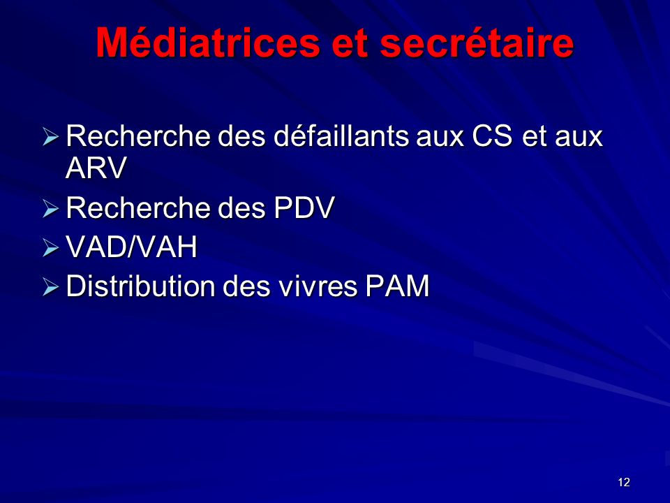 Médiatrices et secrétaire Recherche des défaillants aux CS et aux ARV Recherche des défaillants aux CS et aux ARV Recherche des PDV Recherche des PDV