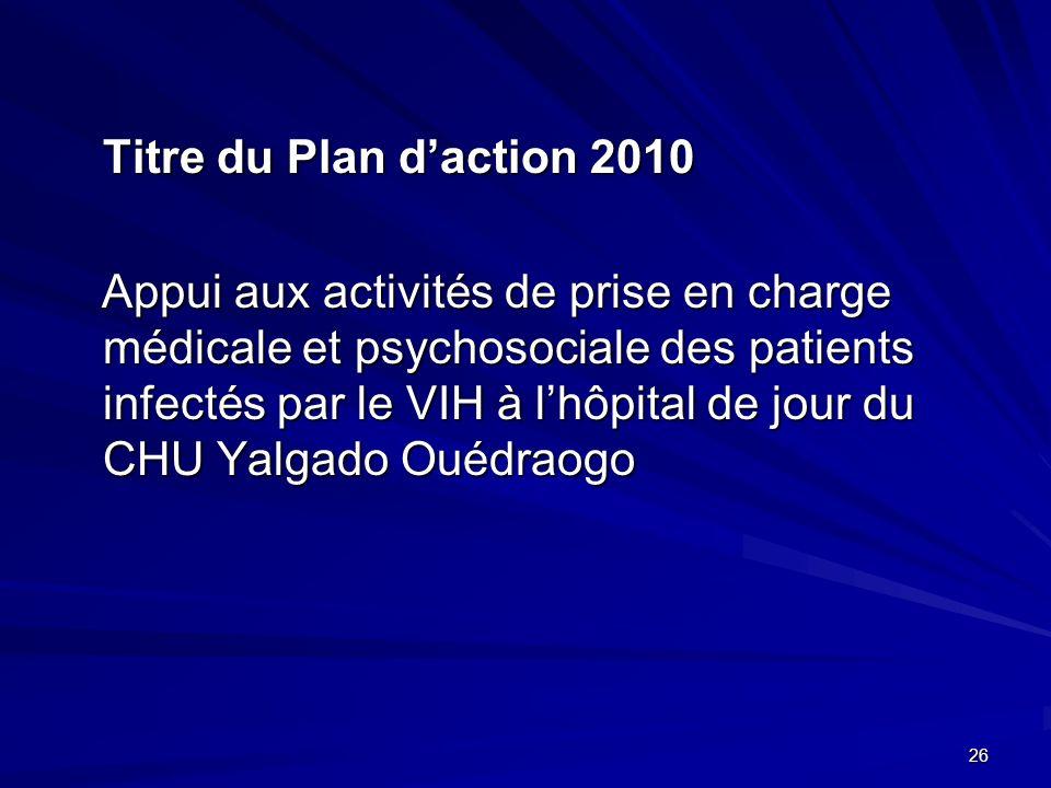 Titre du Plan daction 2010 Appui aux activités de prise en charge médicale et psychosociale des patients infectés par le VIH à lhôpital de jour du CHU