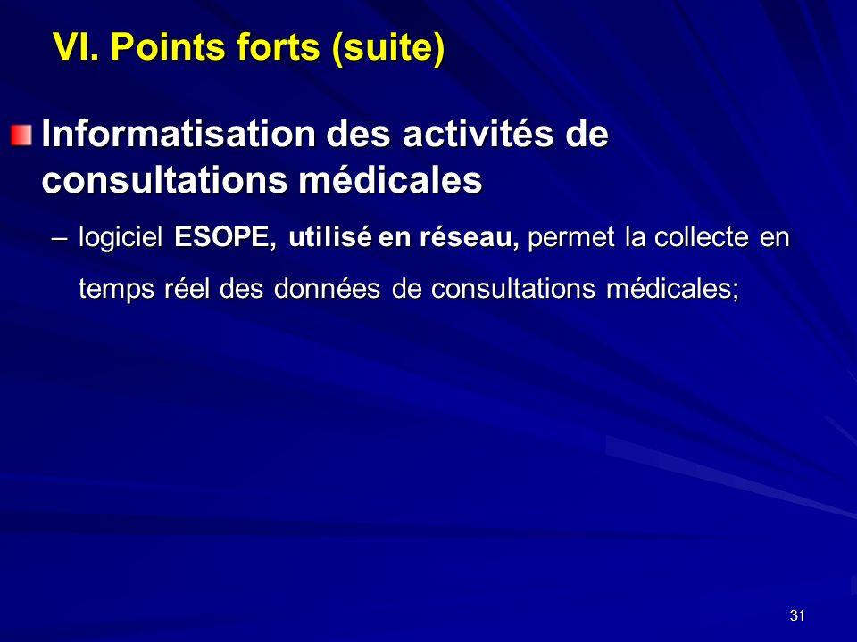 31 VI. Points forts (suite) Informatisation des activités de consultations médicales –logiciel ESOPE, utilisé en réseau, permet la collecte en temps r