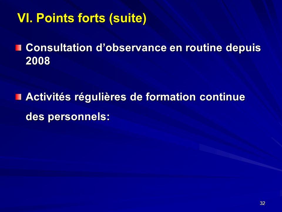 32 VI. Points forts (suite) Consultation dobservance en routine depuis 2008 Activités régulières de formation continue des personnels: