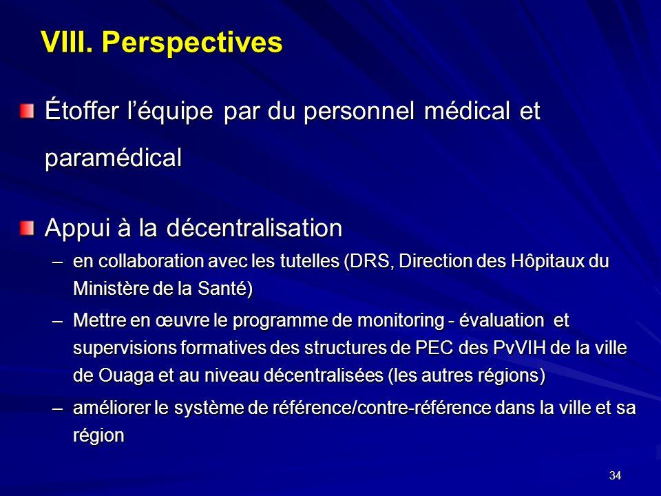 34 VIII. Perspectives Étoffer léquipe par du personnel médical et paramédical Appui à la décentralisation –en collaboration avec les tutelles (DRS, Di
