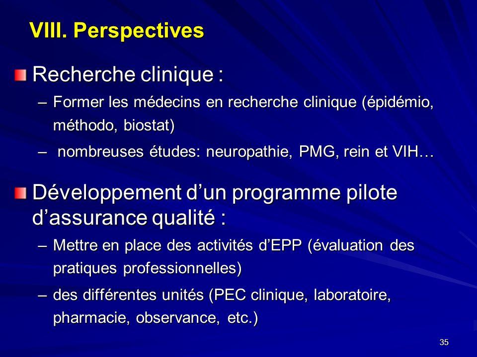 35 VIII. Perspectives Recherche clinique : –Former les médecins en recherche clinique (épidémio, méthodo, biostat) – nombreuses études: neuropathie, P
