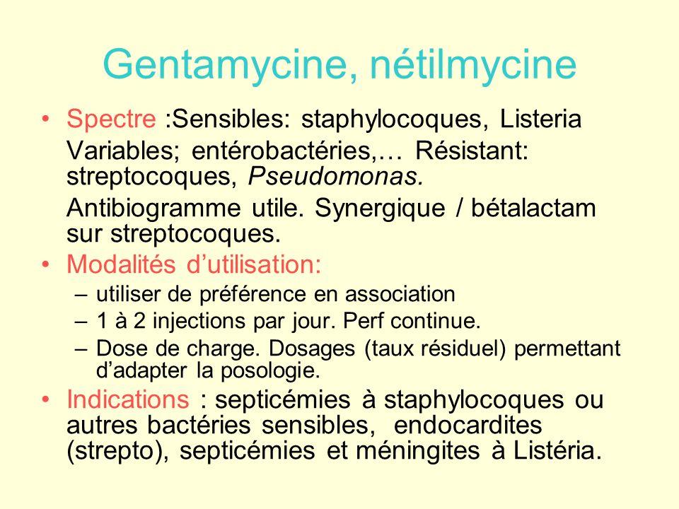 Gentamycine, nétilmycine Spectre :Sensibles: staphylocoques, Listeria Variables; entérobactéries,… Résistant: streptocoques, Pseudomonas. Antibiogramm