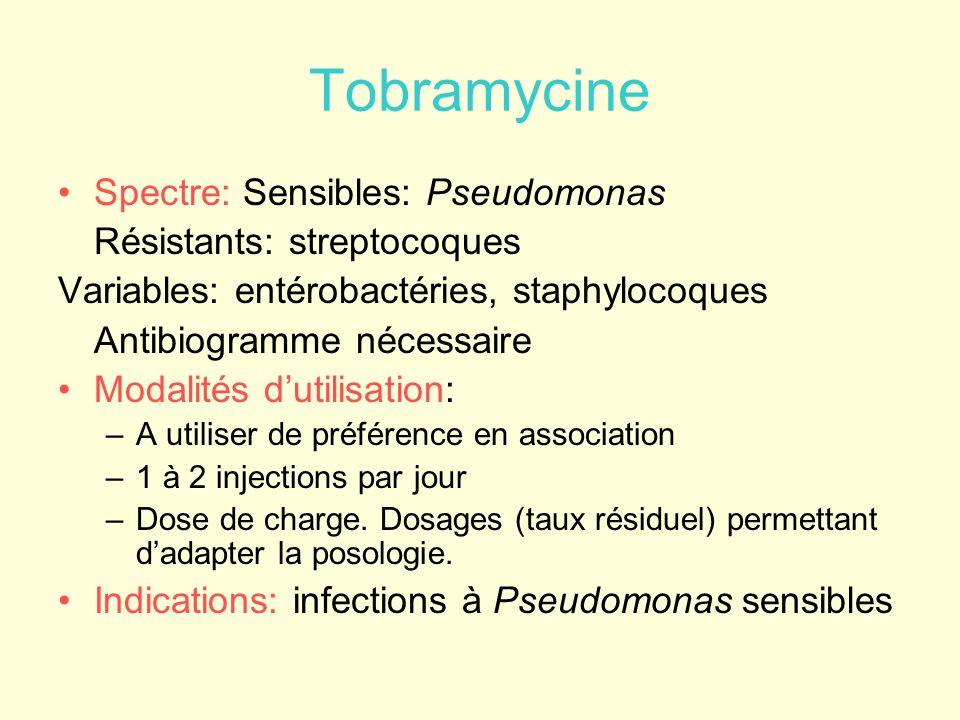 Tobramycine Spectre: Sensibles: Pseudomonas Résistants: streptocoques Variables: entérobactéries, staphylocoques Antibiogramme nécessaire Modalités du