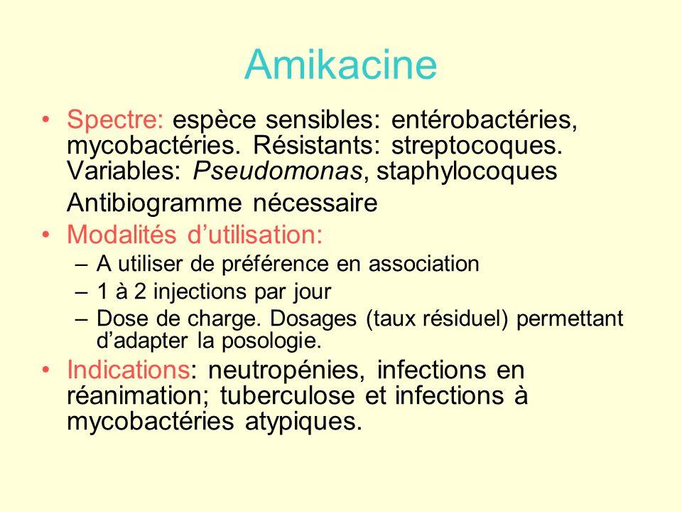 Amikacine Spectre: espèce sensibles: entérobactéries, mycobactéries. Résistants: streptocoques. Variables: Pseudomonas, staphylocoques Antibiogramme n