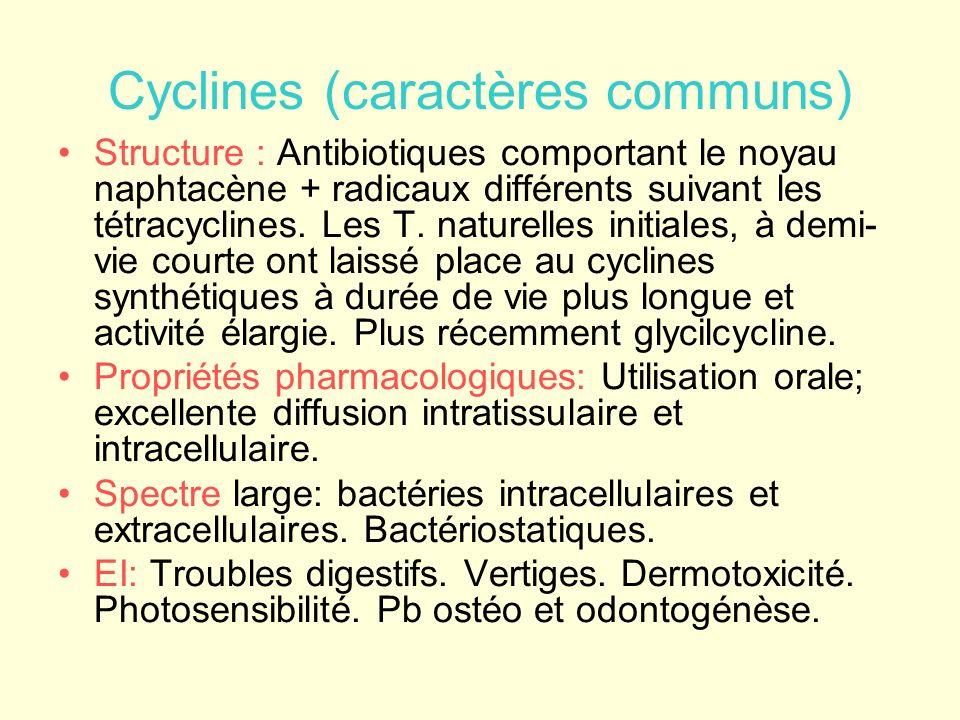Cyclines (caractères communs) Structure : Antibiotiques comportant le noyau naphtacène + radicaux différents suivant les tétracyclines. Les T. naturel