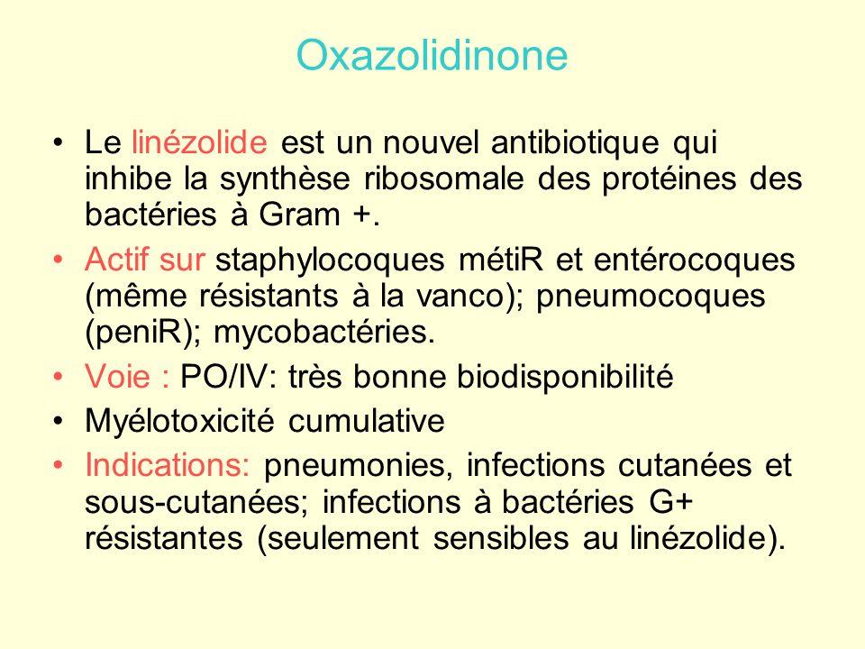 Oxazolidinone Le linézolide est un nouvel antibiotique qui inhibe la synthèse ribosomale des protéines des bactéries à Gram +. Actif sur staphylocoque