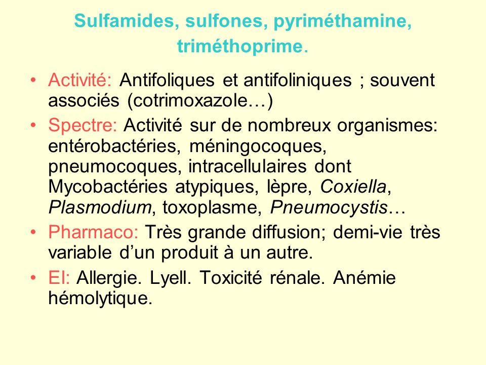 Sulfamides, sulfones, pyriméthamine, triméthoprime. Activité: Antifoliques et antifoliniques ; souvent associés (cotrimoxazole…) Spectre: Activité sur