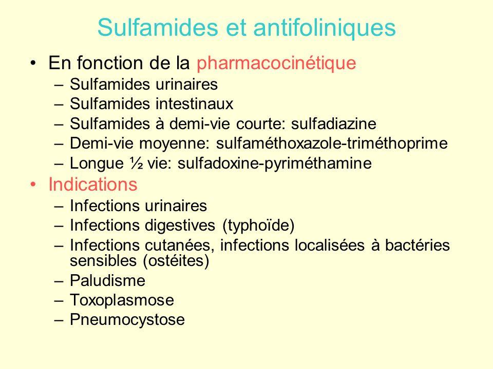 Sulfamides et antifoliniques En fonction de la pharmacocinétique –Sulfamides urinaires –Sulfamides intestinaux –Sulfamides à demi-vie courte: sulfadia