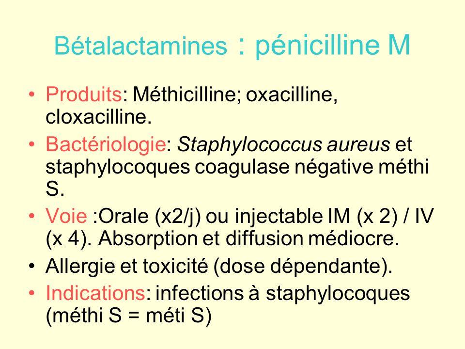 Bétalactamines : pénicilline M Produits: Méthicilline; oxacilline, cloxacilline. Bactériologie: Staphylococcus aureus et staphylocoques coagulase néga