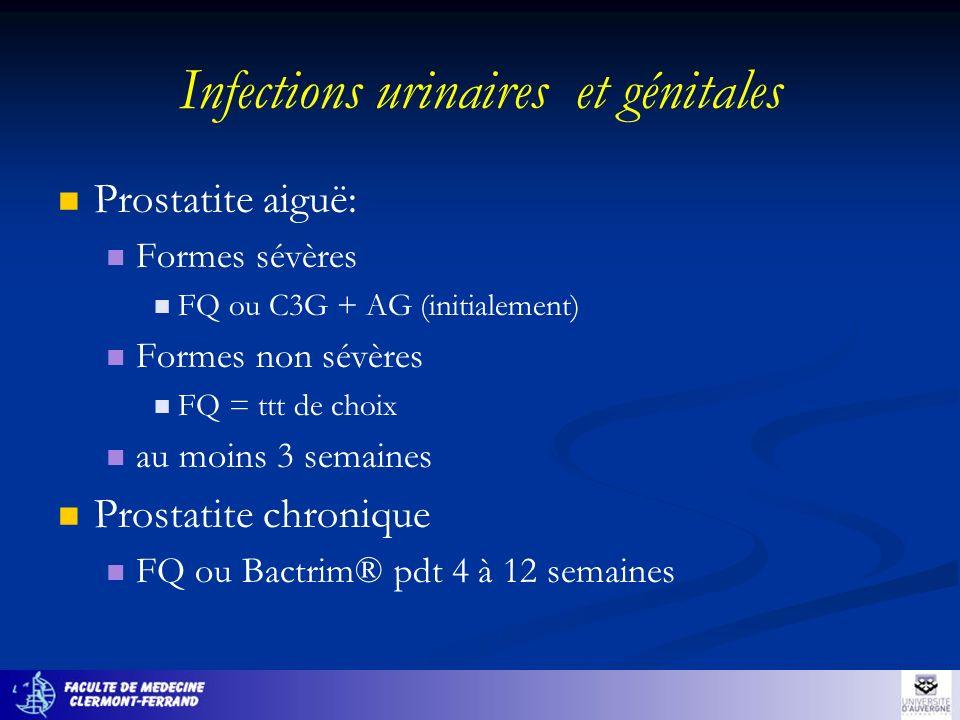 Infections urinaires et génitales Prostatite aiguë: Formes sévères FQ ou C3G + AG (initialement) Formes non sévères FQ = ttt de choix au moins 3 semai