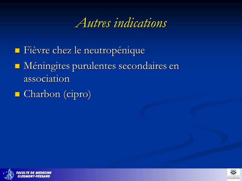 Autres indications Fièvre chez le neutropénique Fièvre chez le neutropénique Méningites purulentes secondaires en association Méningites purulentes se