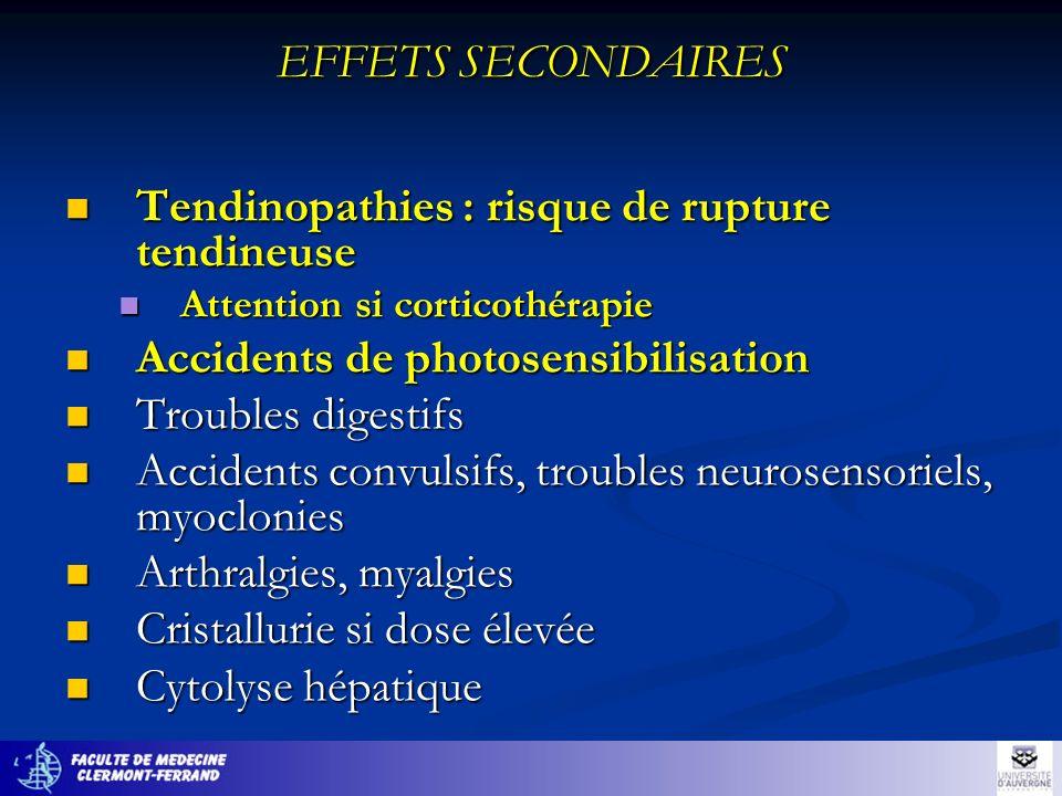 EFFETS SECONDAIRES Tendinopathies : risque de rupture tendineuse Tendinopathies : risque de rupture tendineuse Attention si corticothérapie Attention