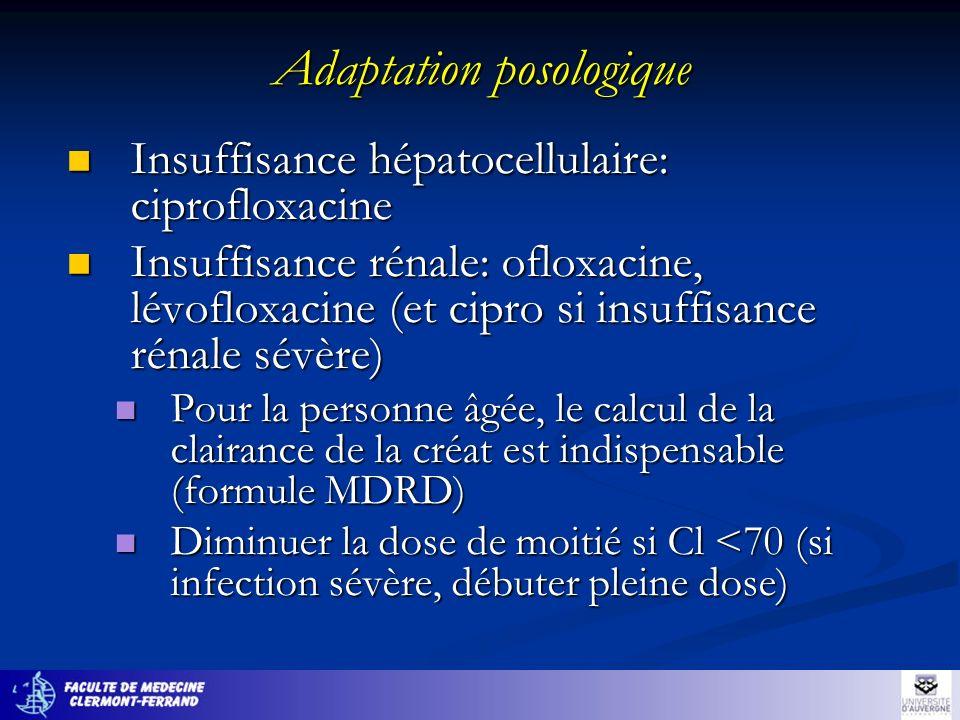 Adaptation posologique Insuffisance hépatocellulaire: ciprofloxacine Insuffisance hépatocellulaire: ciprofloxacine Insuffisance rénale: ofloxacine, lé