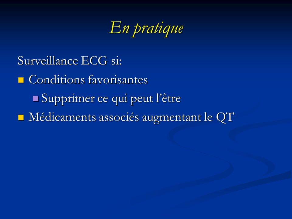 En pratique Surveillance ECG si: Conditions favorisantes Conditions favorisantes Supprimer ce qui peut lêtre Supprimer ce qui peut lêtre Médicaments a