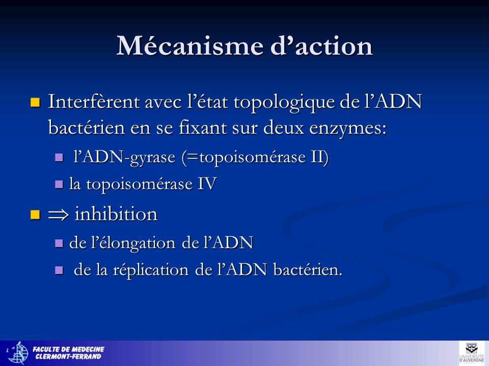 Mécanisme daction Interfèrent avec létat topologique de lADN bactérien en se fixant sur deux enzymes: Interfèrent avec létat topologique de lADN bacté