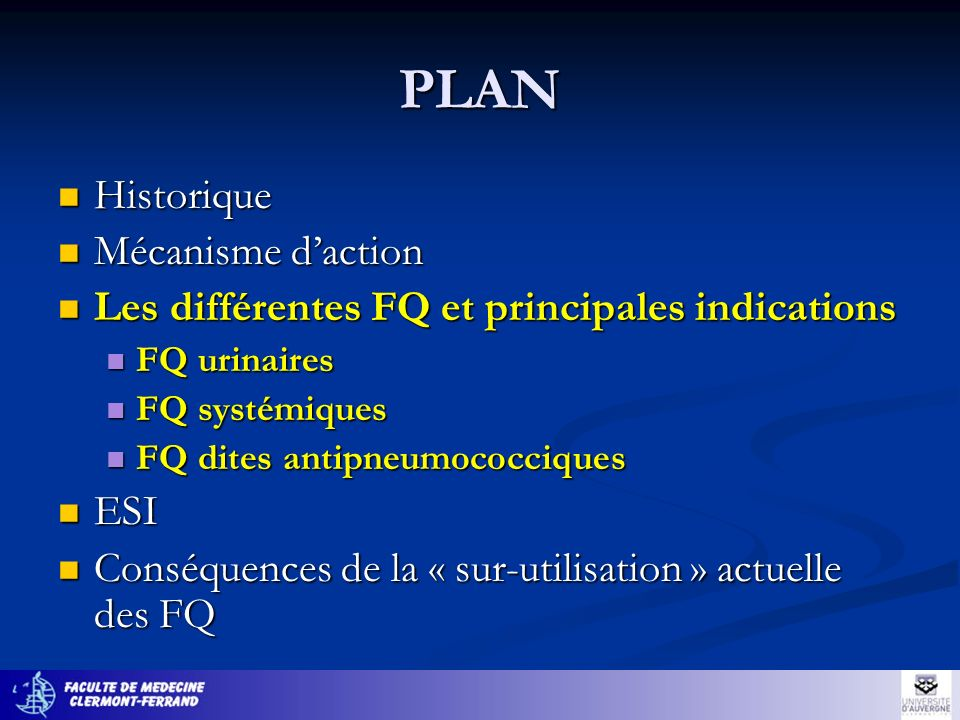 Infections urinaires et génitales Salpingite: TTT efficace sur C trachomatis, N gonorrhoeae, entérobactéries, anaérobies Lassociation FQ+Augmentin® nest plus recommandée (R des entérobactéries aux FQ, R des gono à lAugmentin®) C3G + Doxycycline + métronidazole, 2-3 semaines IST 10% des gono sont R aux FQ Rocéphine® IM 250 mg C trachomatis: les FQ sont une alternative aux cyclines