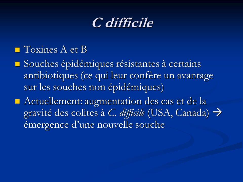 C difficile Toxines A et B Toxines A et B Souches épidémiques résistantes à certains antibiotiques (ce qui leur confère un avantage sur les souches no