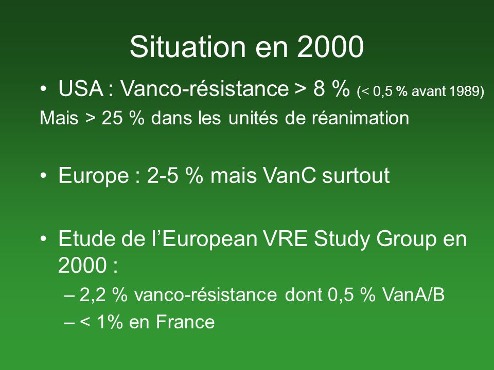 Situation en 2000 USA : Vanco-résistance > 8 % (< 0,5 % avant 1989) Mais > 25 % dans les unités de réanimation Europe : 2-5 % mais VanC surtout Etude