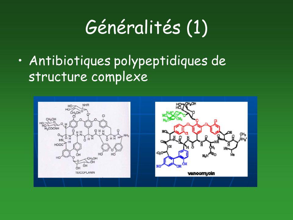 Généralités (1) Antibiotiques polypeptidiques de structure complexe