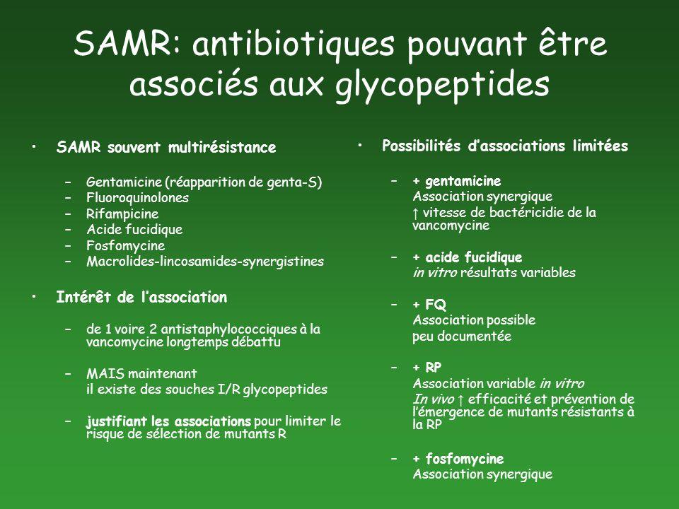SAMR: antibiotiques pouvant être associés aux glycopeptides SAMR souvent multirésistance –Gentamicine (réapparition de genta-S) –Fluoroquinolones –Rif