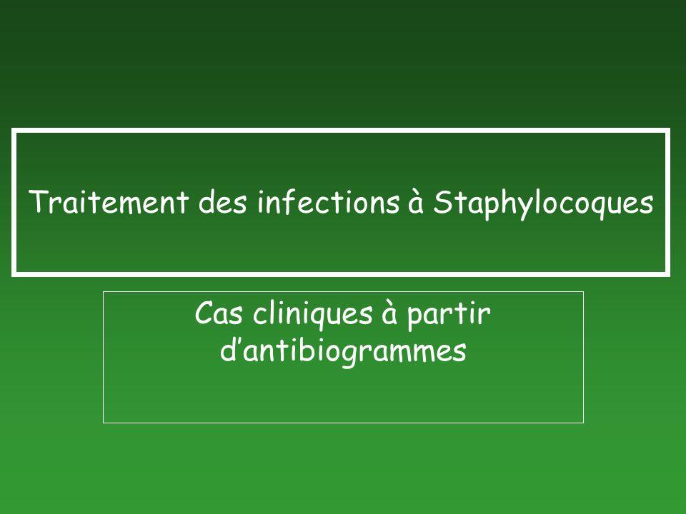 Traitement des infections à Staphylocoques Cas cliniques à partir dantibiogrammes