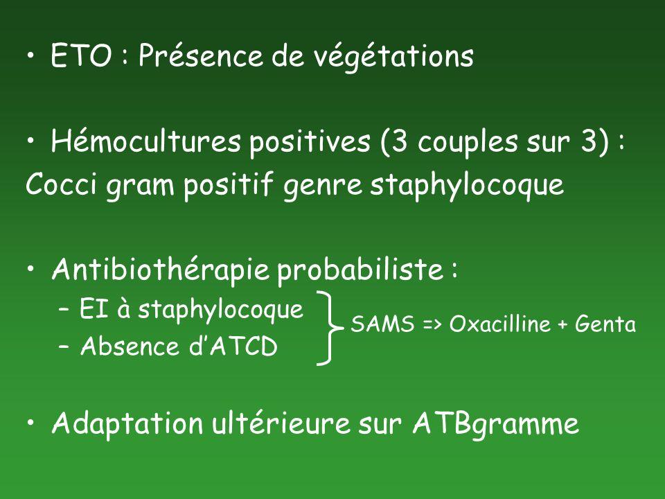 ETO : Présence de végétations Hémocultures positives (3 couples sur 3) : Cocci gram positif genre staphylocoque Antibiothérapie probabiliste : –EI à s