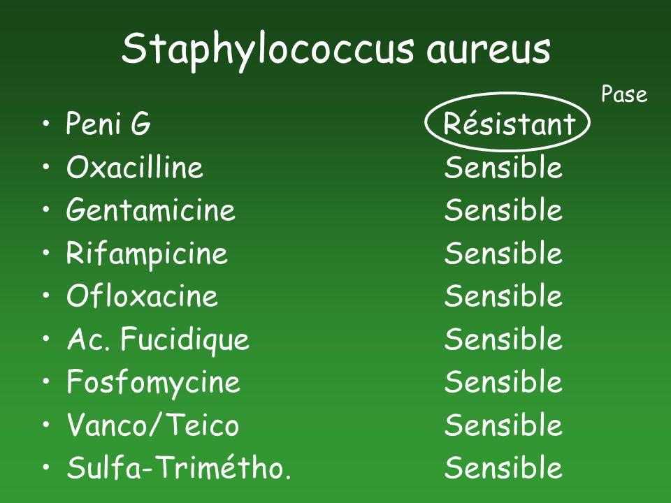 Staphylococcus aureus Peni G Résistant OxacillineSensible GentamicineSensible RifampicineSensible OfloxacineSensible Ac. FucidiqueSensible Fosfomycine