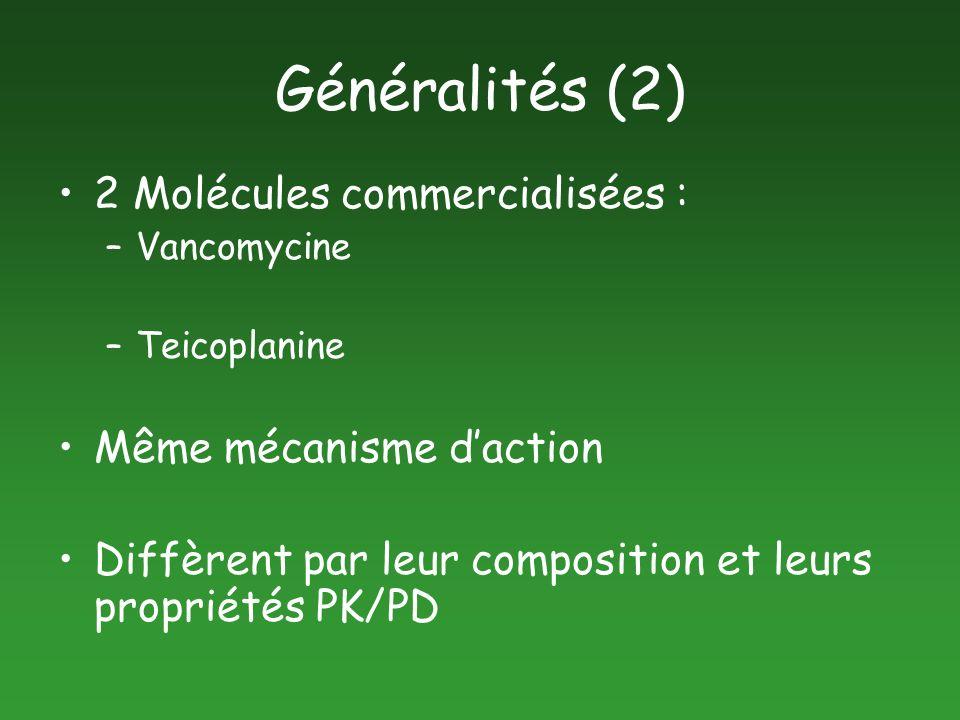 Généralités (2) 2 Molécules commercialisées : –Vancomycine –Teicoplanine Même mécanisme daction Diffèrent par leur composition et leurs propriétés PK/