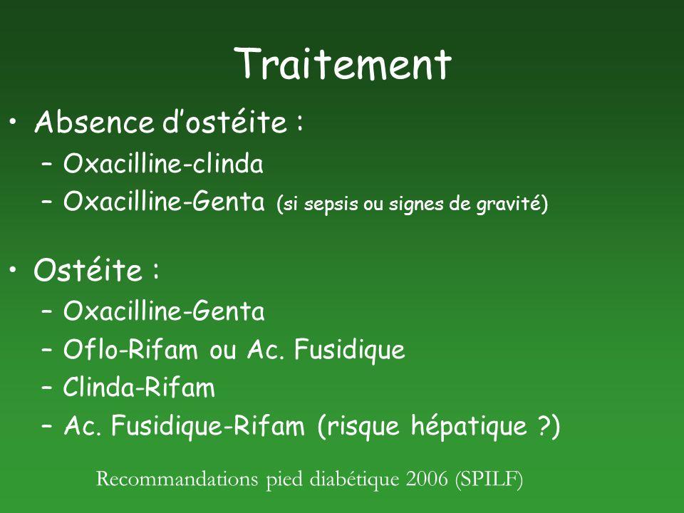 Traitement Absence dostéite : –Oxacilline-clinda –Oxacilline-Genta (si sepsis ou signes de gravité) Ostéite : –Oxacilline-Genta –Oflo-Rifam ou Ac. Fus