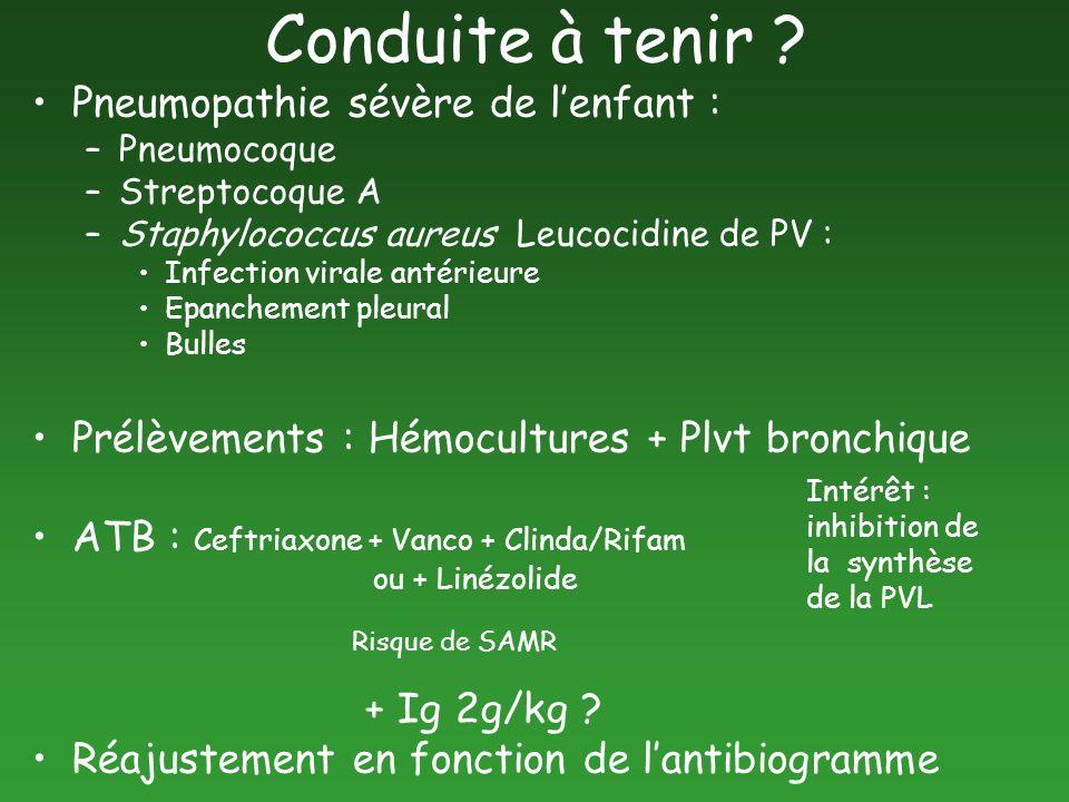 Conduite à tenir ? Pneumopathie sévère de lenfant : –Pneumocoque –Streptocoque A –Staphylococcus aureus Leucocidine de PV : Infection virale antérieur
