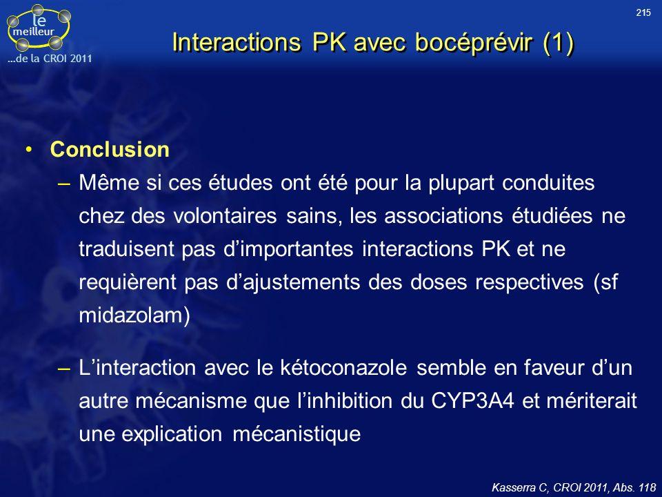 le meilleur …de la CROI 2011 Interactions PK avec bocéprévir (1) Conclusion –Même si ces études ont été pour la plupart conduites chez des volontaires sains, les associations étudiées ne traduisent pas dimportantes interactions PK et ne requièrent pas dajustements des doses respectives (sf midazolam) –Linteraction avec le kétoconazole semble en faveur dun autre mécanisme que linhibition du CYP3A4 et mériterait une explication mécanistique Kasserra C, CROI 2011, Abs.