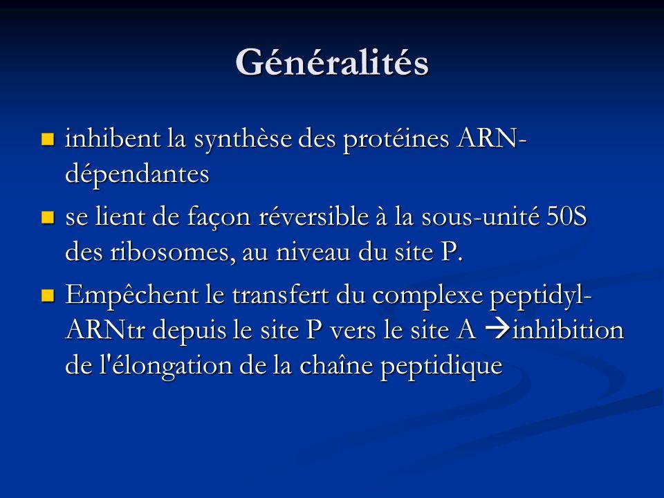 Généralités inhibent la synthèse des protéines ARN- dépendantes inhibent la synthèse des protéines ARN- dépendantes se lient de façon réversible à la sous-unité 50S des ribosomes, au niveau du site P.