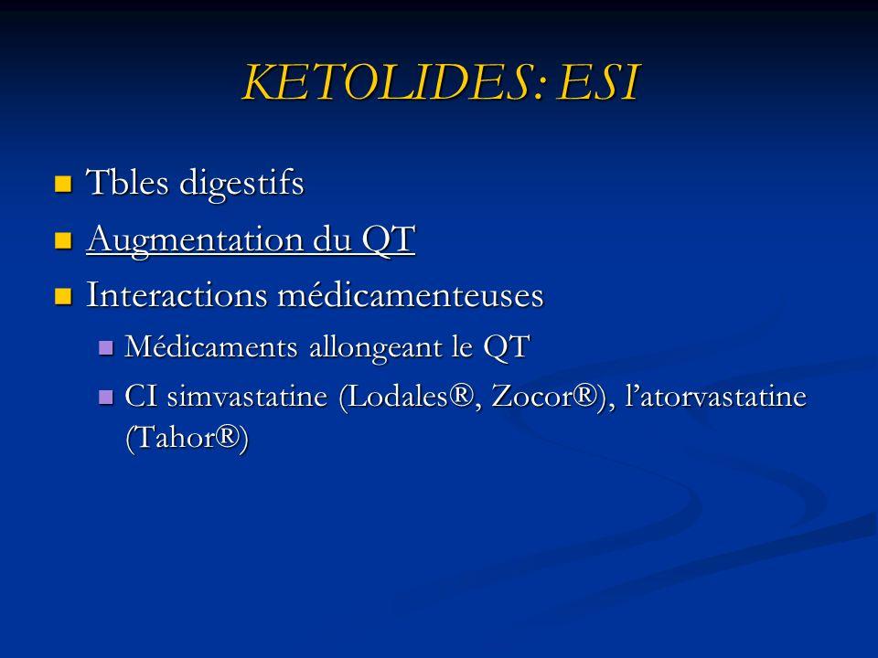 KETOLIDES: ESI Tbles digestifs Tbles digestifs Augmentation du QT Augmentation du QT Interactions médicamenteuses Interactions médicamenteuses Médicaments allongeant le QT Médicaments allongeant le QT CI simvastatine (Lodales®, Zocor®), latorvastatine (Tahor®) CI simvastatine (Lodales®, Zocor®), latorvastatine (Tahor®)